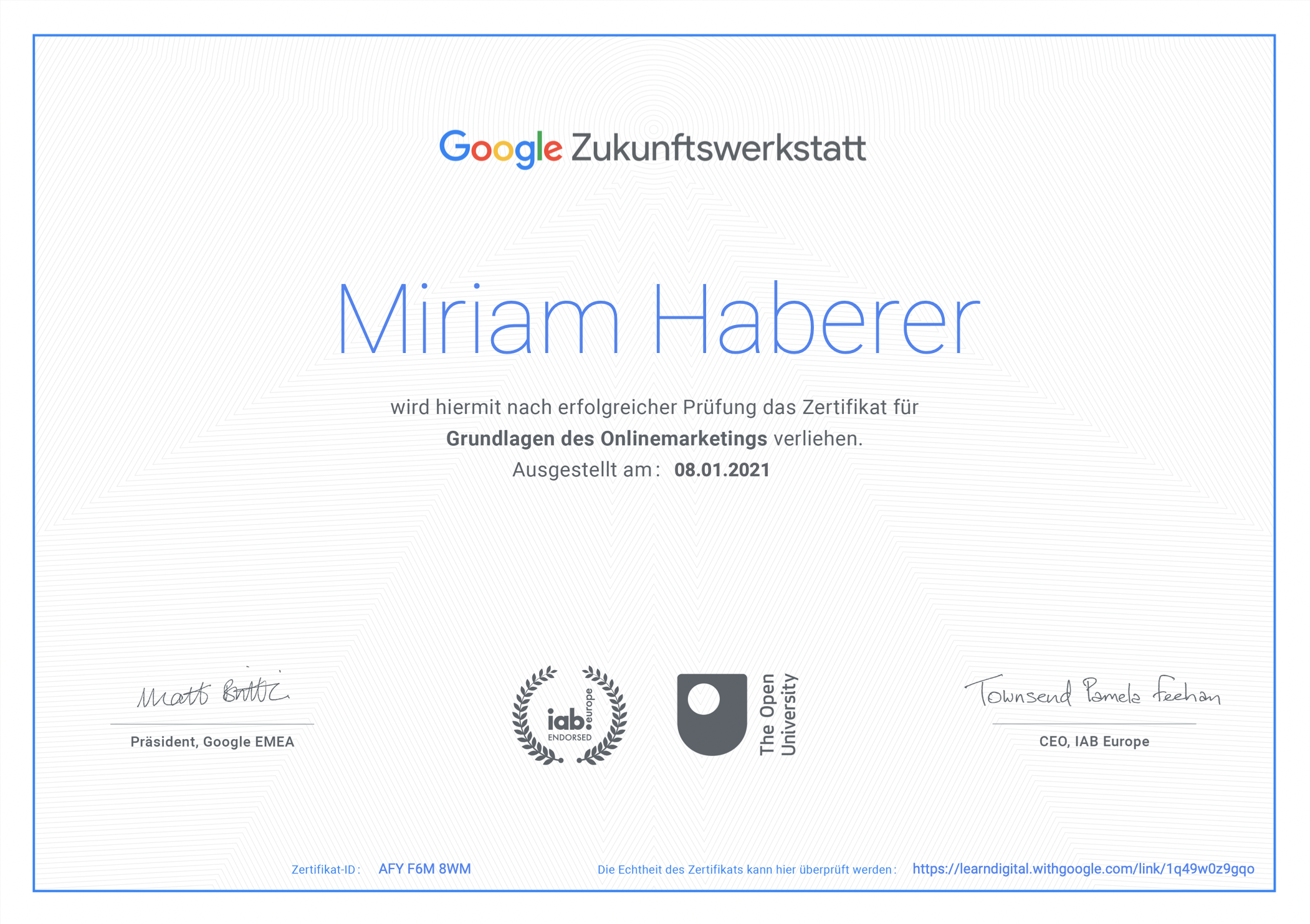 ertifikat Online Marketing Miriam Haberer